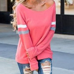 Tops - Coral unfinished hem neckline football tee